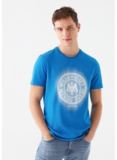 Mavi Mavi Logo Baskılı Tişört Mavi